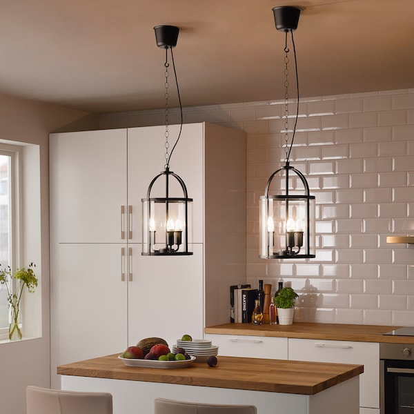 GALJON Pendant lamp, black/transparent glass, 25 cm