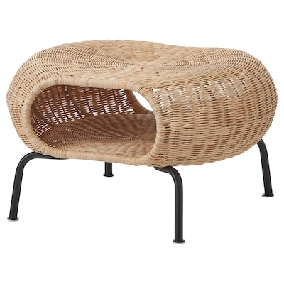 GAMLEHULT Footstool with storage, rattan/anthracite