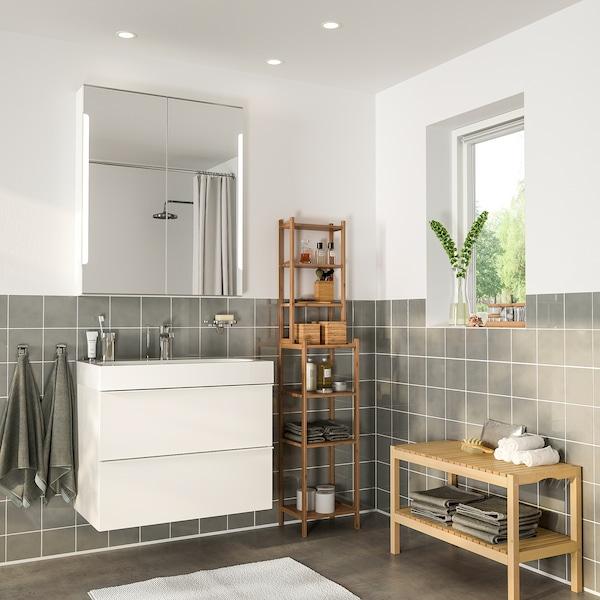 GODMORGON / BRÅVIKEN Bathroom furniture, set of 5, high-gloss white/Brogrund tap, 80 cm