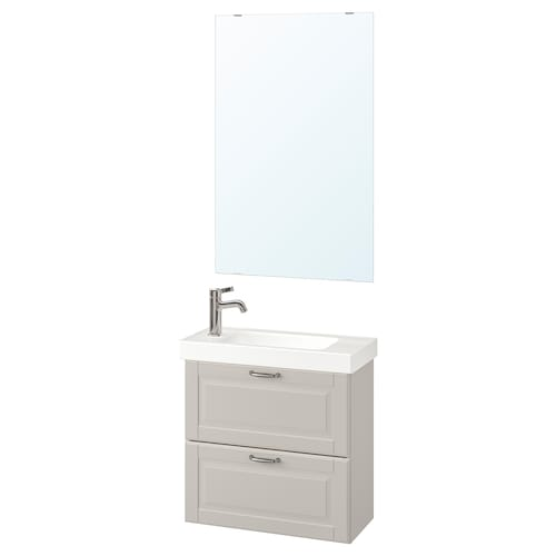 GODMORGON / HAGAVIKEN bathroom furniture, set of 4 Kasjön light grey/Voxnan tap 63 cm 60 cm 49 cm 89 cm