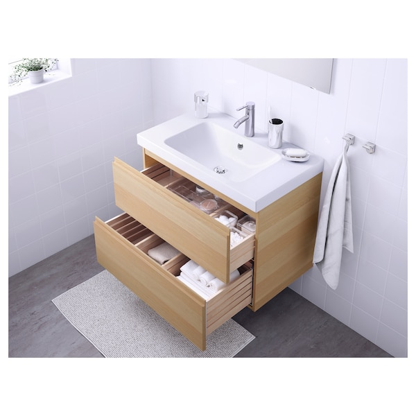 GODMORGON / ODENSVIK Wash-stand with 2 drawers, white stained oak effect/Dalskär tap, 83x49x64 cm