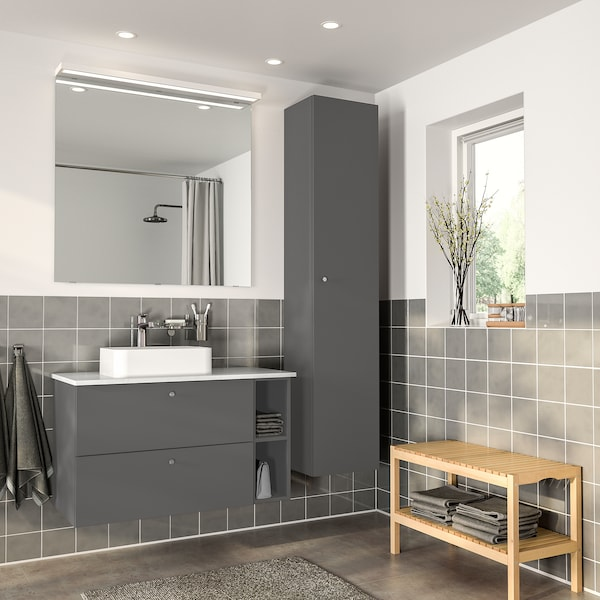 GODMORGON Open cabinet, Gillburen dark grey, 20x45x58 cm
