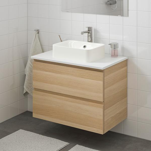GODMORGON/TOLKEN / HÖRVIK Wsh-stnd w countrtop 45x32 wsh-bsn, white stained oak effect/marble effect Brogrund tap, 82x49x72 cm
