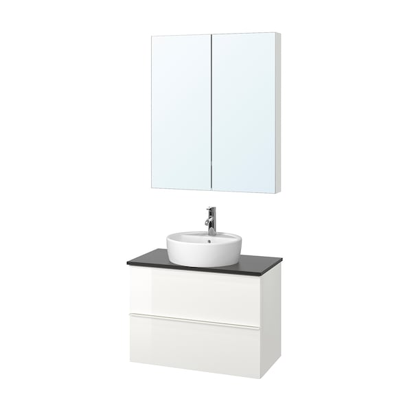 GODMORGON/TOLKEN / TÖRNVIKEN Bathroom furniture, set of 5, high-gloss white/anthracite Dalskär tap, 82 cm