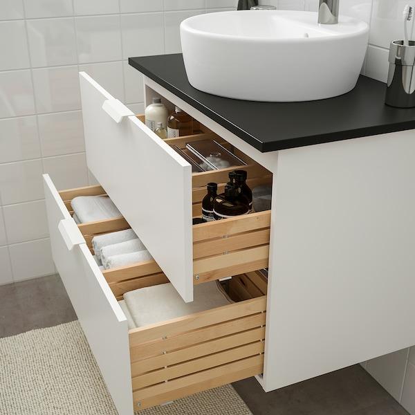 GODMORGON/TOLKEN / TÖRNVIKEN Bathroom furniture, set of 5, white/anthracite Dalskär tap, 82 cm