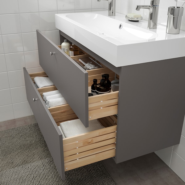 GODMORGON Wash-stand with 2 drawers, Gillburen dark grey, 100x47x58 cm