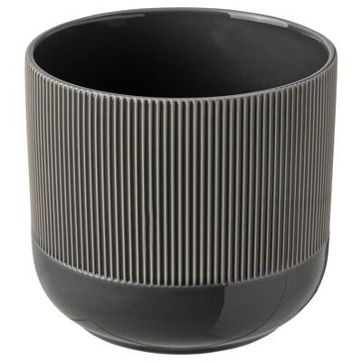 GRADVIS Plant pot, in/outdoor dark grey, 15 cm