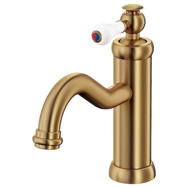 HAMNSKÄR Wash-basin mixer tap with strainer, brass-colour