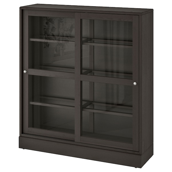 HAVSTA Glass-door cabinet with plinth, dark brown clear glass, 121x37x134 cm