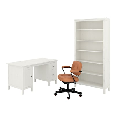 HEMNES/ALEFJÄLL Desk and storage combination, and swivel chair/white stain golden-brown