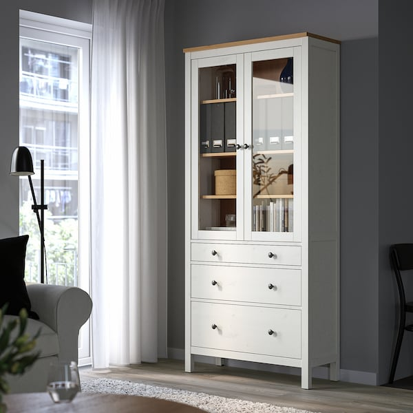 HEMNES Glass-door cabinet with 3 drawers, white stain/light brown, 90x198 cm