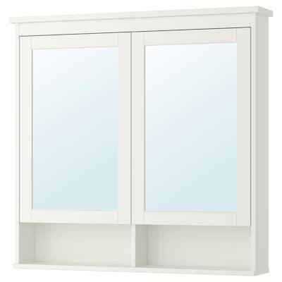 HEMNES Mirror cabinet with 2 doors, white, 103x16x98 cm