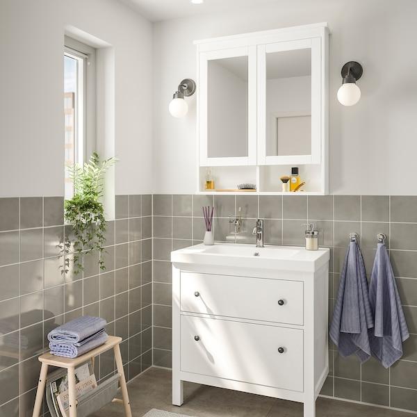 HEMNES / ODENSVIK Bathroom furniture, set of 4, white/Voxnan tap, 83 cm