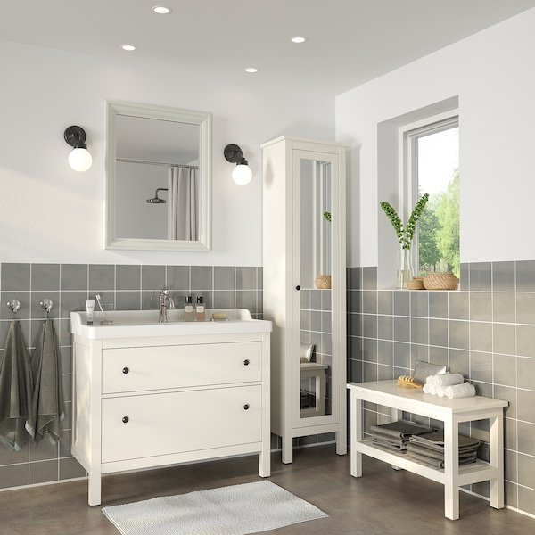 HEMNES / RÄTTVIKEN Bathroom furniture, set of 5, white/Hamnskär tap, 102 cm