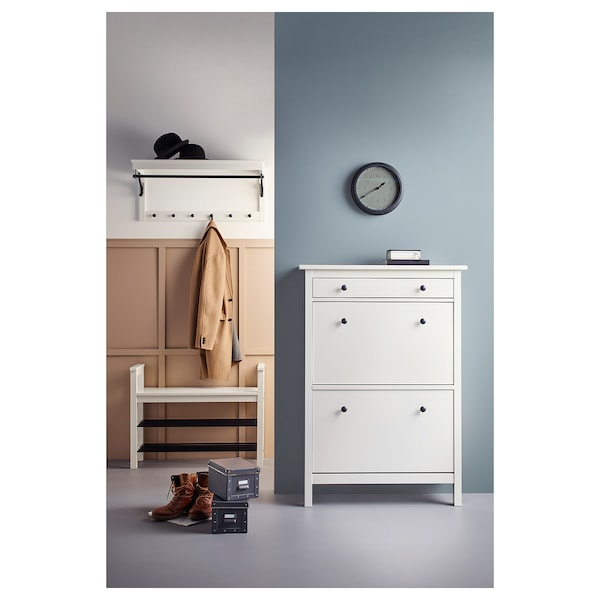 HEMNES Shoe cabinet with 2 compartments, white, 89x30x127 cm