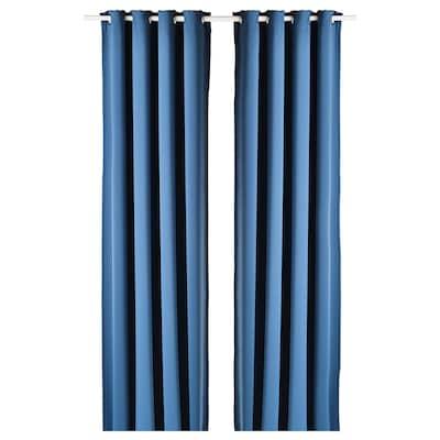 HILLEBORG Room darkening curtains, 1 pair, blue, 145x250 cm