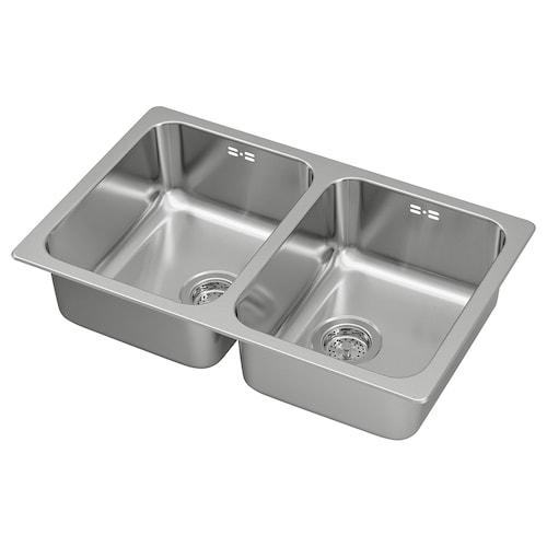 HILLESJÖN inset sink, 2 bowls stainless steel 44 cm 73 cm 18 cm 33 cm 40 cm 18.0 l 18 cm 33 cm 40 cm 18.0 l 46 cm 75 cm 46.0 cm
