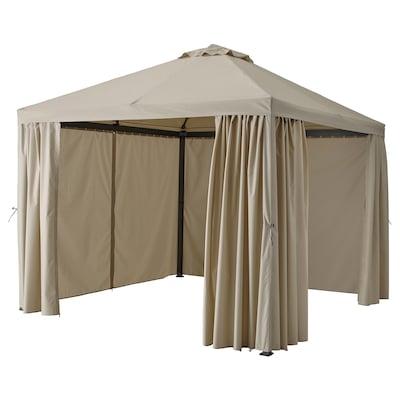 HIMMELSÖ Gazebo with curtains, dark grey/grey-beige