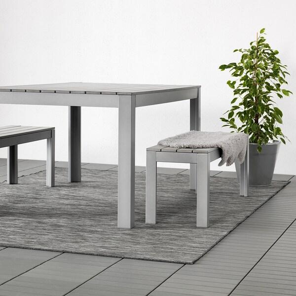 HODDE Rug flatwoven, in/outdoor, grey/black, 200x300 cm