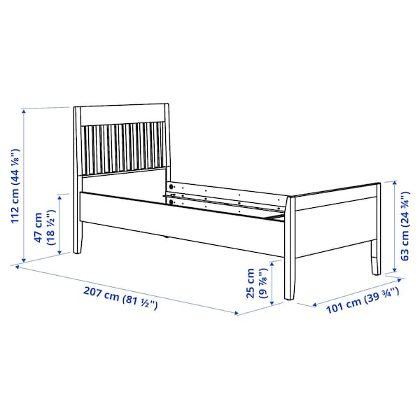 IDANÄS Bed frame, white/Lönset, 90x200 cm