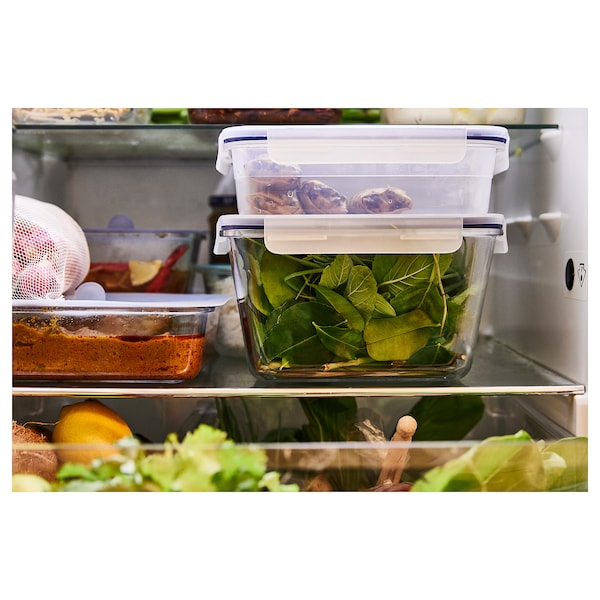 IKEA 365+ Food container with lid, square/plastic, 750 ml