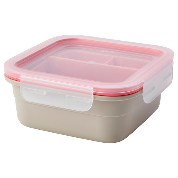 IKEA 365+ Lunch box with inserts, square/beige light red, 750 ml