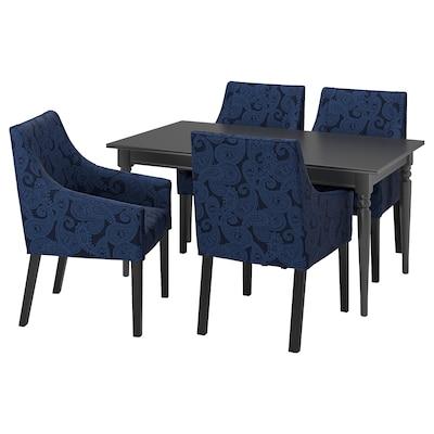INGATORP / SAKARIAS Table and 4 chairs, black/Kvillsfors dark blue/blue, 155/215 cm