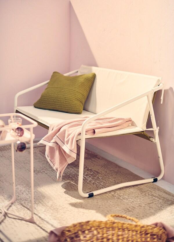 INGMARSÖ 2-seat sofa, in/outdoor, white green/beige, 118x69x69 cm