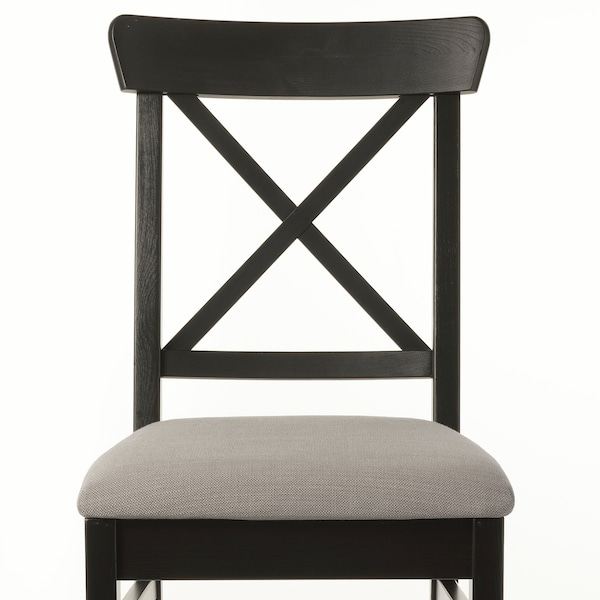INGOLF Chair, brown-black/Nolhaga grey-beige