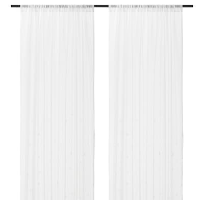 IRMALI Sheer curtains, 1 pair, white dots, 145x250 cm