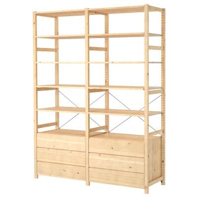 IVAR 2 sections/shelves/chest, pine, 174x50x226 cm