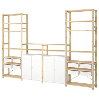 IVAR 4 sections/shelves/cabinet, pine/white, 344x30x226 cm
