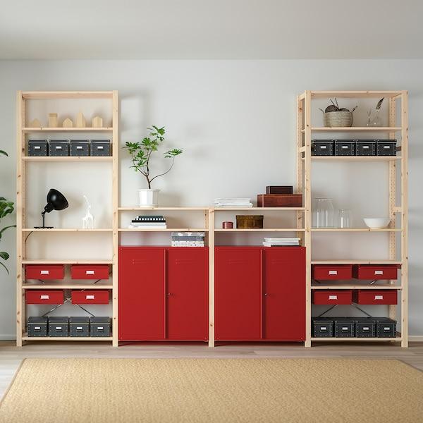 IVAR shelving unit w cabinets/drawers pine/red 344 cm 30 cm 226 cm