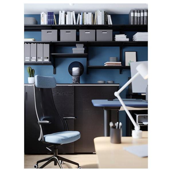 JÄRVFJÄLLET Office chair with armrests, Gunnared blue/black
