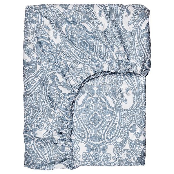 JÄTTEVALLMO Fitted sheet, white/blue, 90x200 cm