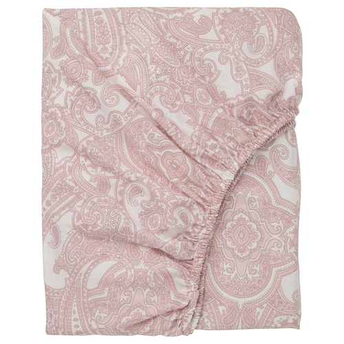 JÄTTEVALLMO fitted sheet white/pink 152 /inch² 200 cm 150 cm 26 cm