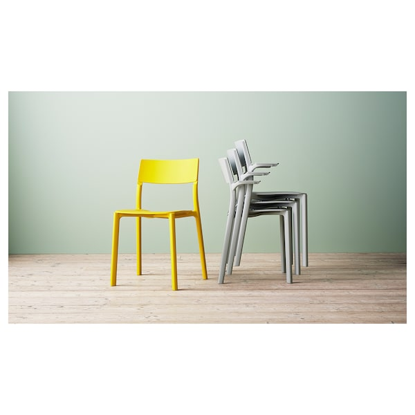 JANINGE Chair with armrests, grey