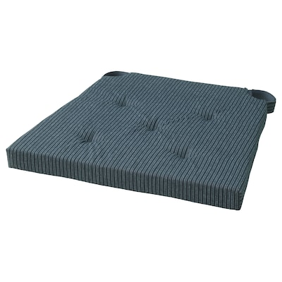 JUSTINA Chair pad, dark blue/striped, 42/35x40x4 cm