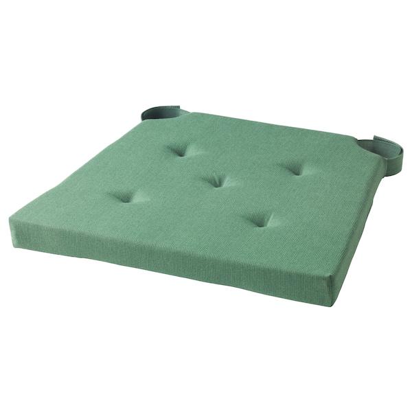 JUSTINA Chair pad, green, 35/42x40x4.0 cm