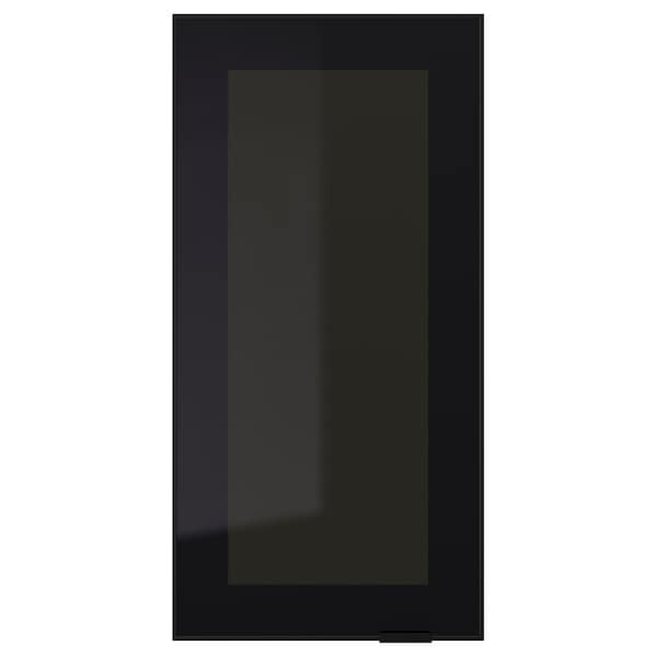 JUTIS glass door smoked glass/black 29.7 cm 60 cm 30 cm 59.7 cm 1.8 cm