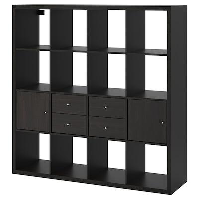 KALLAX Shelving unit with 4 inserts, black-brown, 147x147 cm