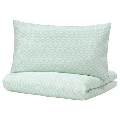 KASKADGRAN Quilt cover and 2 pillowcases, white/light turquoise, 240x220/50x80 cm