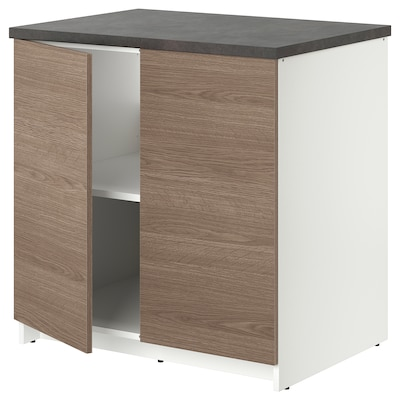 KNOXHULT Base cabinet with doors, wood effect/grey, 80x85 cm
