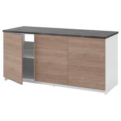 KNOXHULT Base cabinet with doors, wood effect/grey, 180x85 cm