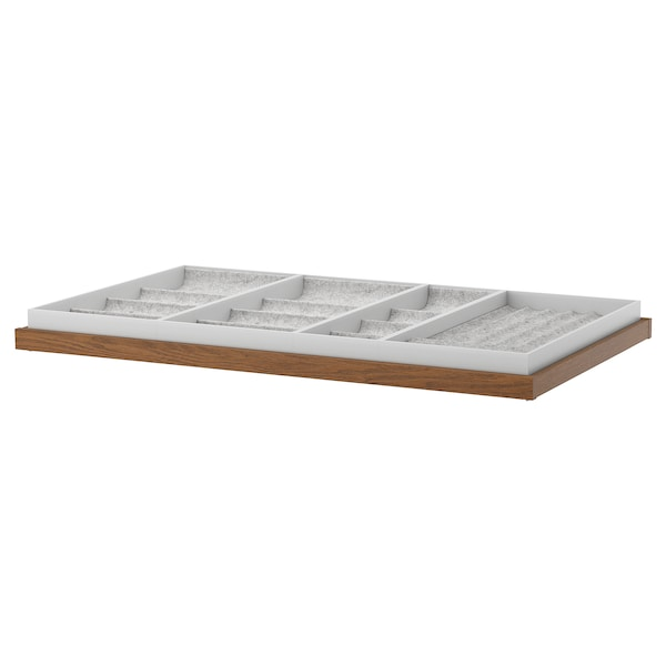 KOMPLEMENT pull-out tray with insert brown stained ash effect 96.5 cm 100 cm 56.3 cm 6.7 cm 58 cm 10 kg
