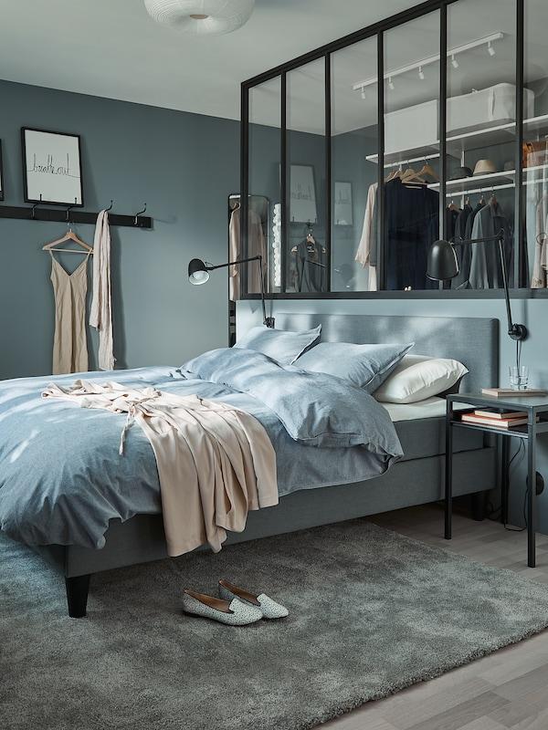 KOPPARBLAD Duvet cover and 2 pillowcases, dark blue, 200x200/50x80 cm
