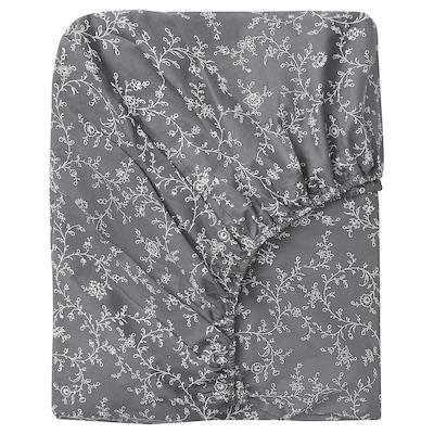 KOPPARRANKA Fitted sheet, floral patterned, 90x200 cm