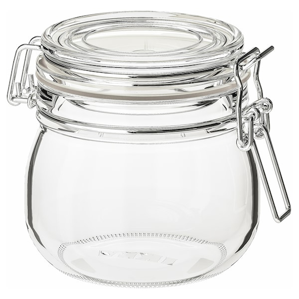 KORKEN Jar with lid, clear glass, 0.5 l