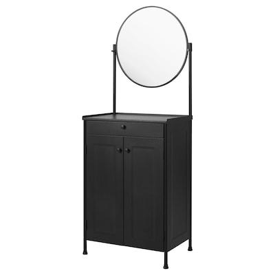 KORNSJÖ Cabinet with mirror, black, 70x47 cm