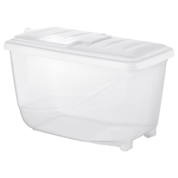 KRITISK Dry food jar with lid, white, 16.0 l